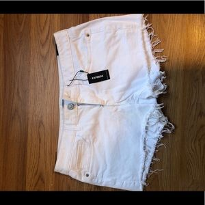 Express cut off white shorts